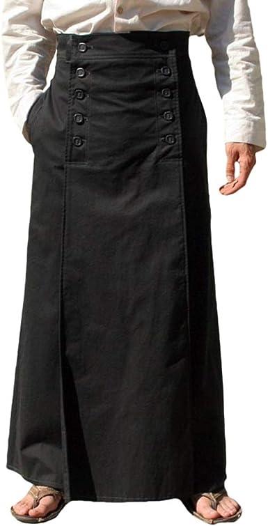 MEIHAOWEI Punk Hombre Victorian Gothic Black Long Jacquard Kilt ...