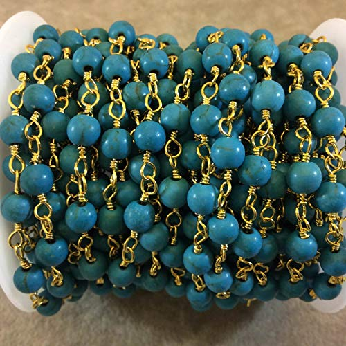 15 Feet Gold Plated Copper Rosary Chain with Smooth 6mm Round Shaped Turq. Blue Howlite Beads by LadoNarayani