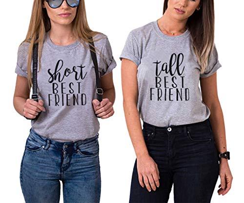 Funny Short Tall Tee BFF Matching Shirts Best Friends Women Partner Friendship Top (Short-S+Tall-M, Grey+Grey) (Two Best Friends Shirts)