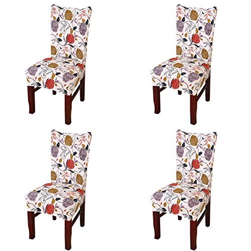 - Dining Chair Cover, My Decor Super Fit Stretch Removable Washable Short Dining Chair Protect Cover Slipcover Style 41, 4 Pack