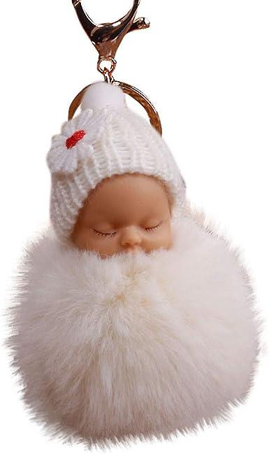 1X Sleeping Baby Porte-clés Tricot Chapeau Keychain clé Boucle plush doll Sac Pendentif