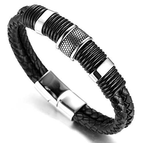 Halukakah 'SOLO' Men's Genuine Leather Titanium Bracelet Black & Silver...