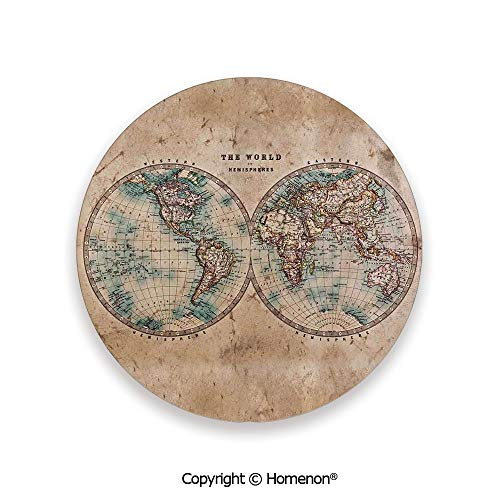 The World in Hemispheres Vintage Old Map Geography History Theme,Fashion Coasters For Drinks Absorbent Burly Wood Tan Blue,3.9×0.2inches(8PCS),Prevent Furniture From Dirty Scratched (Melbourne Commercial Outdoor Furniture)