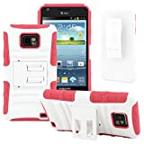 Galaxy S2 Case, CellJoy [Future Armor] (Hot Pink / White) Samsung Galaxy SII i9100 i777 Straight Talk Net10 At&t Hybrid Dual Protection [Heavy Duty] Kickstand **Shock-proof** [Belt Clip Holster Combo]