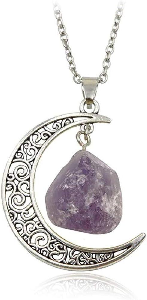 Collar con colgante de luna creciente con grabado de plata con forma orgánica, piedra natural morada de cuarzo y cadena de plata