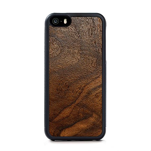 Wood Traveler Case (Carved Walnut Burl iPhone SE Traveler Wood Case - Black Protective Bumper with Real All Wooden)