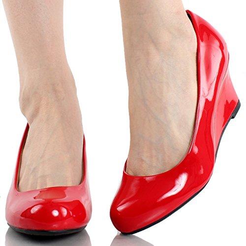 Evigt Länka Womens Doris-22 Patentet Rund Tå Kil Pumpar Röd