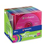 Verbatim CD-RW 700MB 2X-12X Color Rewritable Media Disc - 20 Pack Slim Case