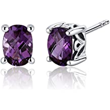 Simulated Alexandrite Stud Earrings Sterling Silver Oval Cut 2.00 Carats