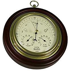 Ambient Weather 8 Cherry Finish Tan Dial Traditional Barometer with Temperature and Humidity WS-M0921THB