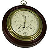 "Ambient Weather WS-M0921THB 8"" Cherry Finish Tan Dial Traditional Barometer with Temperature"