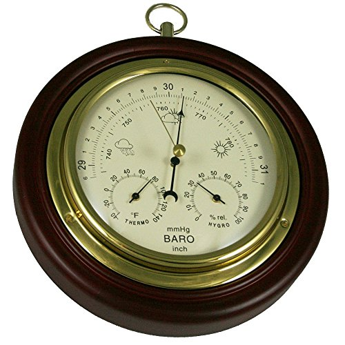 "Ambient Weather WS-M0921THB 8"" Cherry Finish Tan Dial Traditional Barometer with Temperature and Humidity"