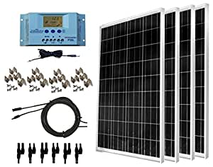 WindyNation 400 Watt Solar Kit: 4pcs 100 Watt Solar Panels + 30A P30L LCD PWM Charge Controller + Mounting Hardware + 40ft Cable + MC4 Connectors. RV's, Boats, Cabins, Camping Off-Grid
