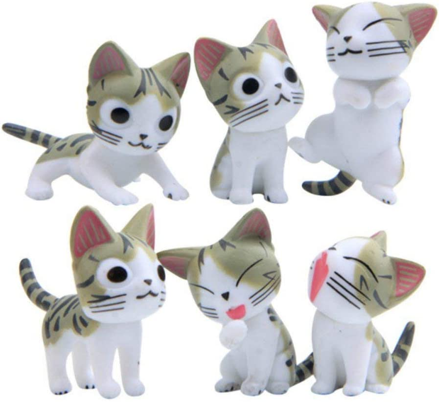 Adarl 6pcs Lucky Grey Cats Jungle Animal for Mini Plant Pots Decor Art Home Decor Landscape Ornament DIY Garden Gift