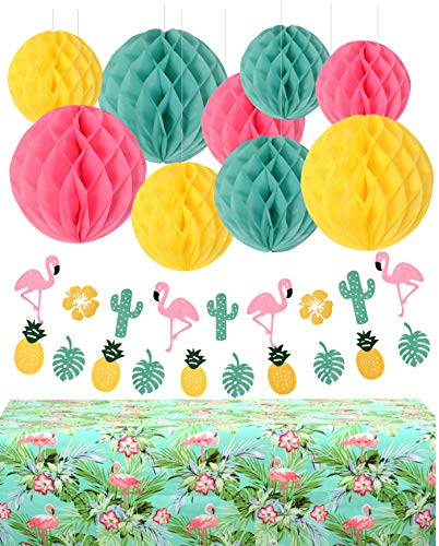 Summer Party, Flamingo Party, Luau Party,Beach Party, Party Decoration Table Cloth,Pineapple Party,Tropical Party, Pool Party,Wedding Party and Other Holiday Parties (Light Green, Pink, Yellow) ()
