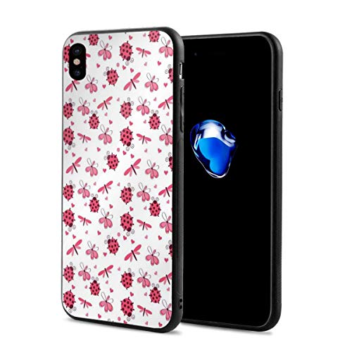 Phone Case Cover for iPhone X XS,Domed Back Round Ladybugs with Hearts Flowers Dragonflies Romantic Wings Pattern,Compatible with iPhone X/XS ()