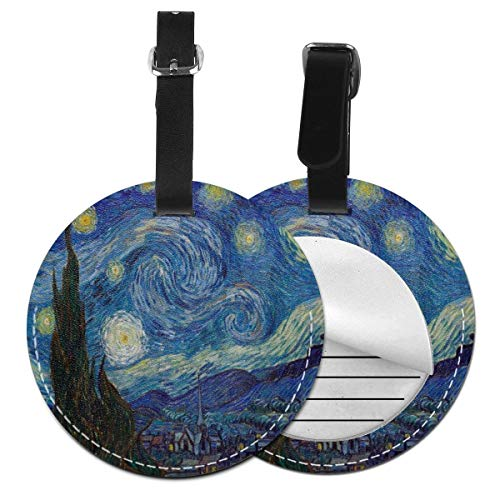 Starry Night Oil Painting Art Luggage Baggage Travel Identifier ID Tags with Back Privacy Cover Set of 4