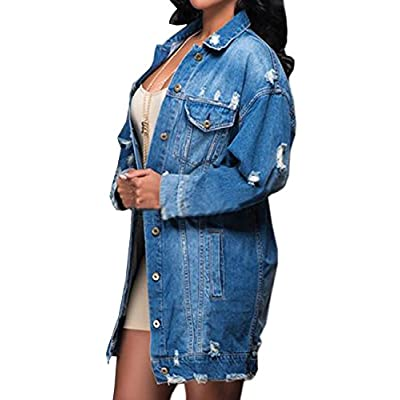 SOMTHRON Women's Distressed Denim Jeans Outfits Coat Spring Fall Ripped Jeans Outerwear Denim Jacket at Women's Coats Shop