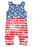 LUKYCILD Baby Boy Sleeveless Star Stripe Print Casual Short Romper Jumpsuit Outfit Size 2-3 Years/Tag100 (Red)
