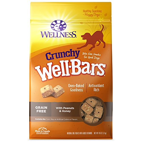 Wellness WellBars Crunchy Wheat Free Natural Dog Treats, Peanuts & Honey, 45-Ounce (Free Dog Biscuits)