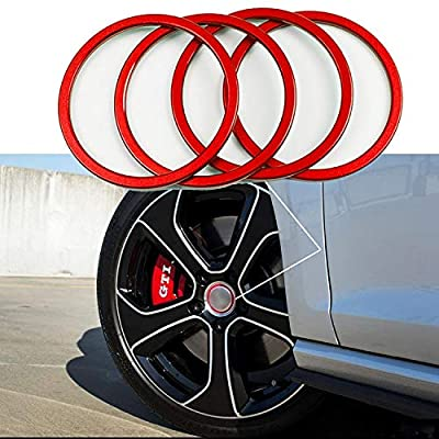 4 Pieces Pack Car Wheel Center Cap Hub Rings Alloy Decoration For VW Volkswagen Tiguan L Caddy EOS Golf Jetta Phaeton Scirocco Sharan Touran Transporter (Red) Size: inner 2.21 inch: Automotive