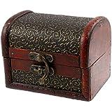 1 X Bronze Tone Embossed Flower Old Stye Wooden Jewelry Box Case