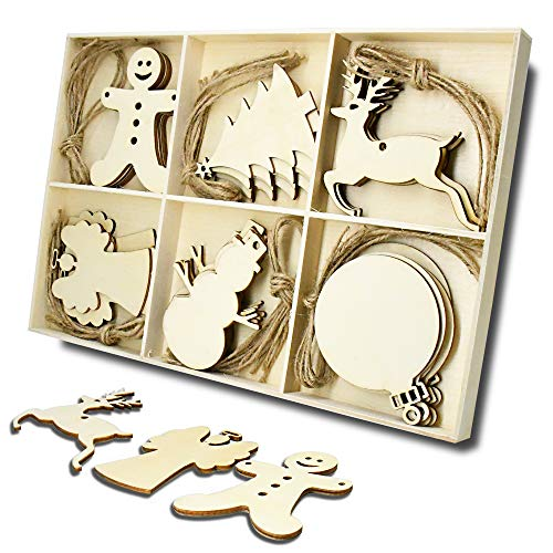 Wooden Christmas Tree and Snowman Shaped Embellishments Hanging