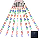 Vmanoo LED Outdoor Lights 8 Tube Meteor Shower Rain Lights Solar Powered Icicle Raindrop Snow Falling Lights Cascading Lighting for Garden Outdoor Patio Holiday Wedding Party Decoration (Multi Color)
