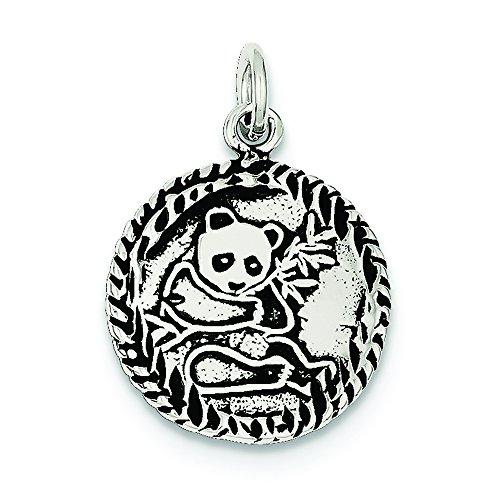 (.925 Sterling Silver Antiqued Panda Bear Charm Pendant)