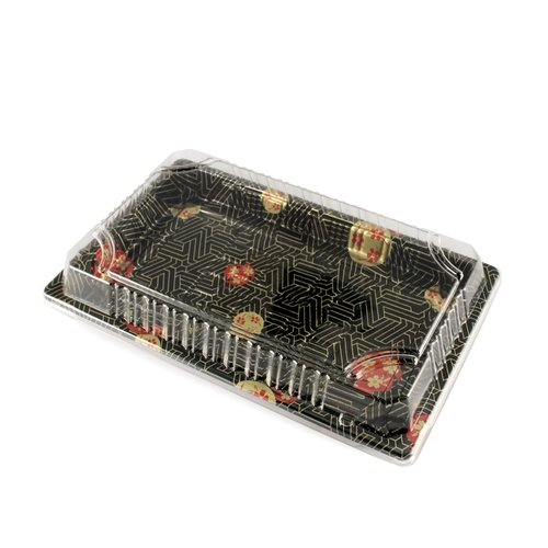 Happy Sales HS-STL50, Premium Restaurant Quality Sushi Tray with Lid -50 Pack