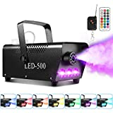 Smoke Machine, AGPtEK Fog Machine with 13 Colorful LED Lights and RGB Light Effect, 500 W and 2000CFM Fog with 2 Wired and Wireless Remote Controls, Perfect for Wedding, Halloween, and Stage Effect