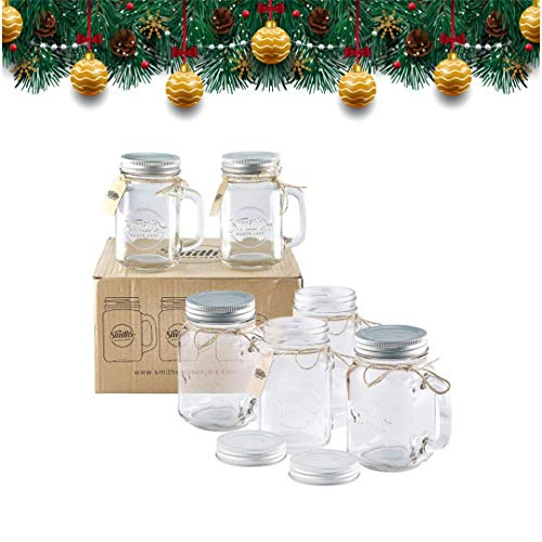 Smith's Mason Jars 6 x 16oz (pint jars) Mason Jar Mugs with screw top lids with rubber seal, making air tight drinking glasses ideal for making overnight oats. With gift and present tags (Mason Bar Company)