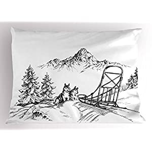 "Ambesonne Alaskan Malamute Pillow Sham, Mountain Landscape in Winter Sledding Dogs Pine Trees Wilderness Art, Decorative Standard Queen Size Printed Pillowcase, 30"" X 20"", Black and White 18"