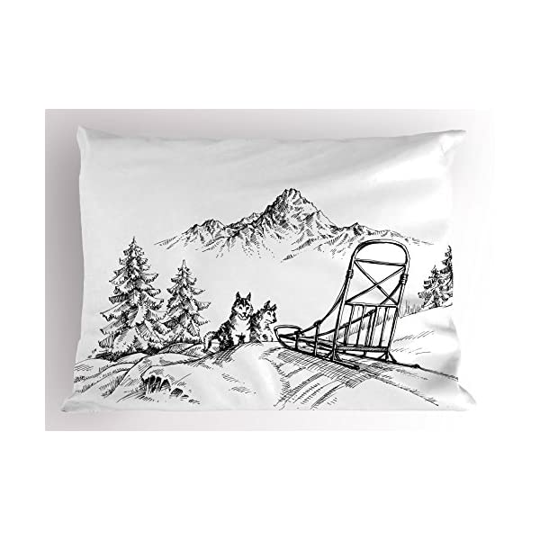 "Ambesonne Alaskan Malamute Pillow Sham, Mountain Landscape in Winter Sledding Dogs Pine Trees Wilderness Art, Decorative Standard Queen Size Printed Pillowcase, 30"" X 20"", Black and White 1"