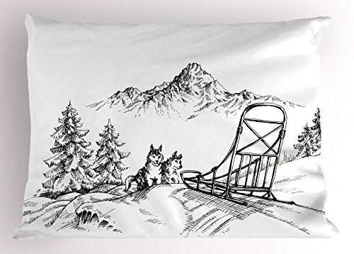 Alaskan Malamute Pillow Sham by Ambesonne, Mountain Landscape in Winter Sledding Dogs Pine Trees Wilderness Art, Decorative Standard Queen Size Printed Pillowcase, 30 X 20 Inches, Black and White (Mountain Pillow Pine Designs)