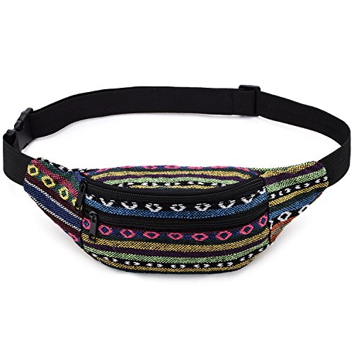 Kayhoma 2 Zippers Boho Fanny Pack Stripe Festival Retro Vintage Flat Bum Bags Travel Hiking Hip Waist Bag