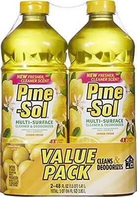 Pine-Sol Multi-Surface Cleaner, Lemon Fresh Scent, Two Count Bottle, 96 fl oz Total