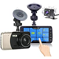 Nesolo Full HD 1080P Car Dash Cam touch screen 170° Wide Angle 4 LCD Dashboard Camera DVR Video Recorder Dual Lens Front+Rear with HDR Night Vision,Loop Recording,Parking Mode,G-Sensor