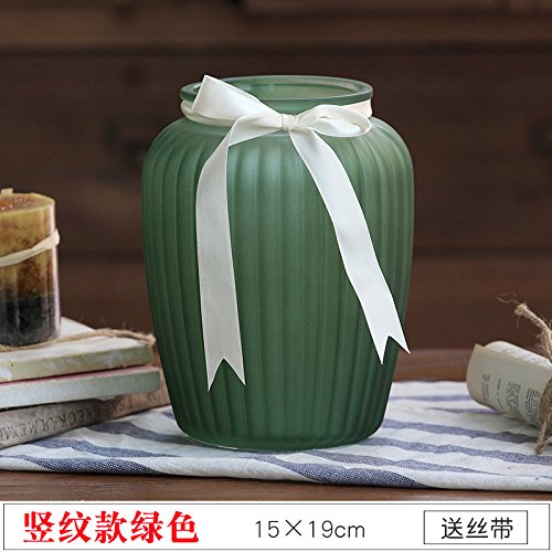 Colored Frosted Glass vase 6 Color Jewelry Living Room Decoration Dried Flower vase, Dark Green Vertical Pattern, 15X19CM,for Home and Wedding Indoor and Outdoor ()