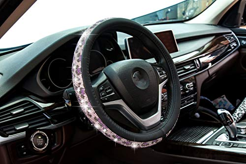 New Crystal steering wheel cover, PU leather Bling Bling Rhinestone, Black Universal 15-inch Protector for Female Girls. (Bing Black Pink)