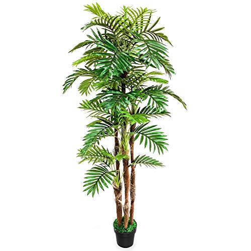 TUSY-6.5 ft Golden Cane Palm Silk Tree,Artificial Trees for Indoor Outdoor Decoration Office or Home Décor (Best Indoor Trees For Home)