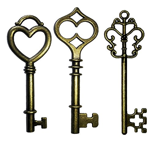 Mixed 30PCS Key Set, Antique Skeleton Keys, Vintage Steam Punk Keys, Castle Dungeon Pirate Keys for Birthday Party Favors, Mini Treasure Toy Gifts, Medieval Middle Ages Theme, Juliet (Bronze)