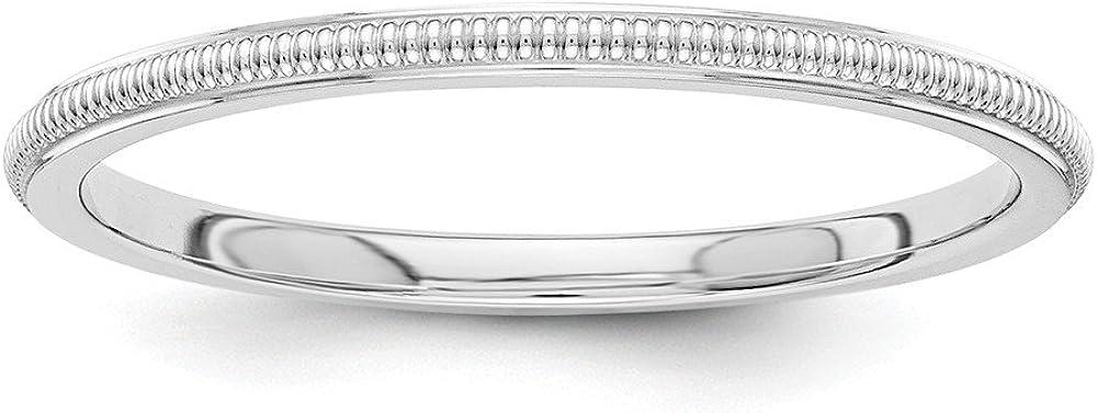 14K White Gold 1.5mm Milgrain Band Ring