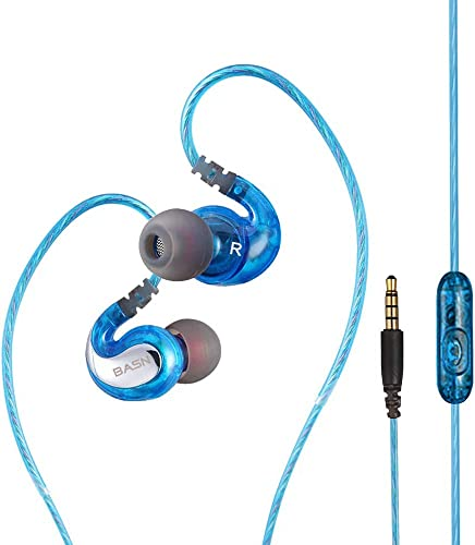 BASN G1 Wired Over Ear Sport Earbuds for Jogging Running Gym Workout, Noise Isolating Earhook Earphones Ear Buds with Micphone Secure Fit in-Ear Headphones Blue
