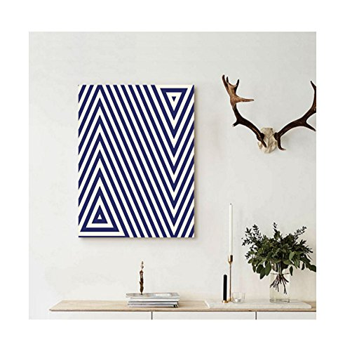 Blue Mountain Geometric Wallpaper (Liguo88 Custom canvas Navy Blue Decor Pattern with Geometric Triangle Like Striped Designed Artwork Wall Hanging for Dark Blue and White)