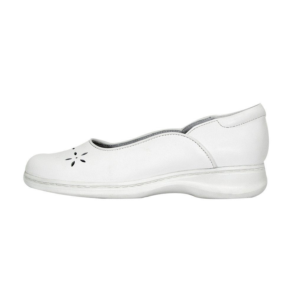 24 Hour Comfort  Heather (1034) Women Wide Width Leather Dress Skimmer Flats White 7.5 by 24 Hour Comfort (Image #2)