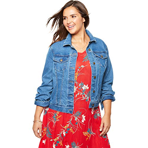 (Woman Within Women's Plus Size Stretch Denim Jacket - Light Stonewash, 22 W )