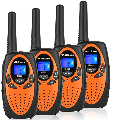 WisHouse 4 Pack Two-Way-Radio Orange - FRS GMRS Walkie Talkies for Adults Long Range - Ham FCC Walki Talki Largo Alcance - Vox Mic Wakie Talkie with Clip Lanyard 22 Channel for Outdoor Adventure Game ()