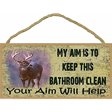5  x 10  Wooden Sign Plaque My Aim it to Keep This Bathroom Clean You Aim Will Help Deer Buck