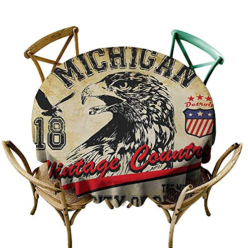 Wendell Joshua Yellow Tablecloth 48 inch Eagle,Hand Drawn City of Detroit Michigan Digital Art with a Portrait of an Eagle, Pale Brown Black Red 100% Polyester Spillproof Tablecloths
